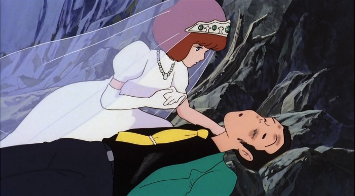 Clarisse gently tending Lupin's wounds
