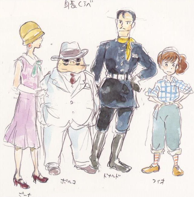 Character design sketches from Hayao Miyazaki's Porco Rosso 紅の豚