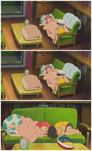 Frames from the Hayao Miyazaki film Ponyo 崖の上のポニョ