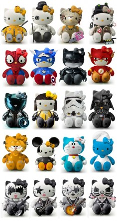 Hello Kitty as Kill Bill, Clockwork Orange, Spider-man, Captain America, Batman, the Flash, Star ...