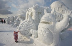 Catbus and Totoro snow sculptures at the Asahikawa Winter Festival (Asahikawa Fuyu Matsuri)