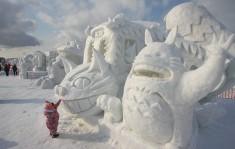 Catbus and Totoro snow sculptures at the Asahikawa Winter Festival (Asahikawa Fuyu Matsuri)