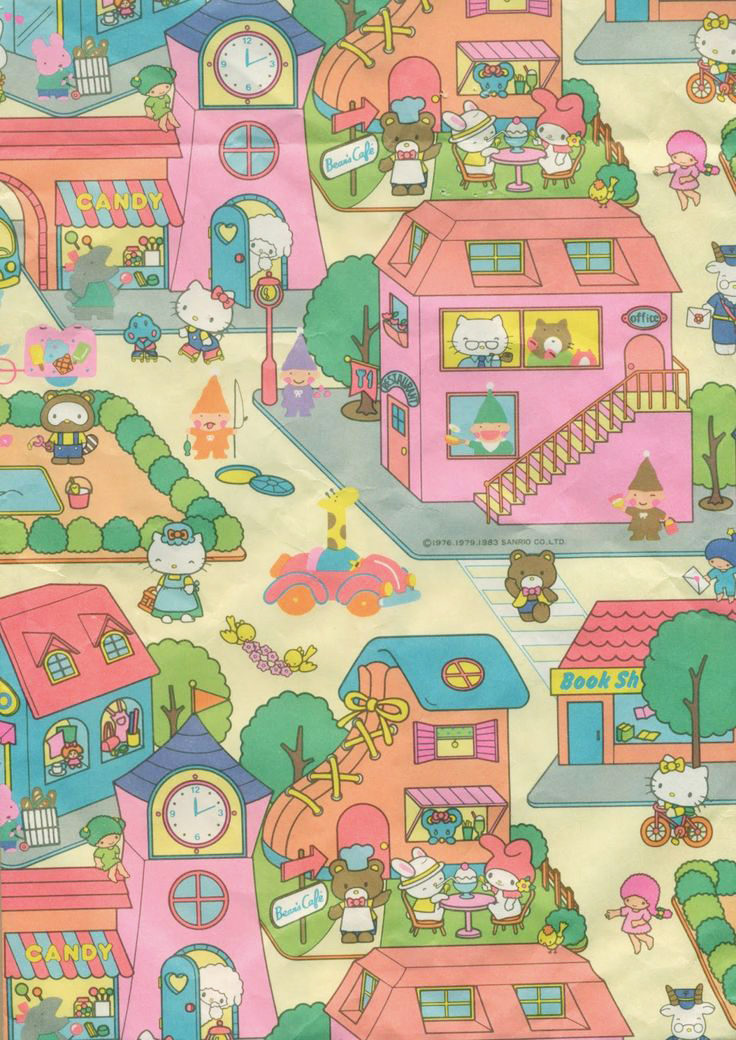 Vintage Hello Kitty Fabric Material Section circa 1983