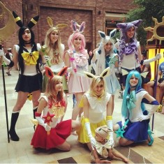 Eeveelution Sailor Scout cosplay at A-kon 2015