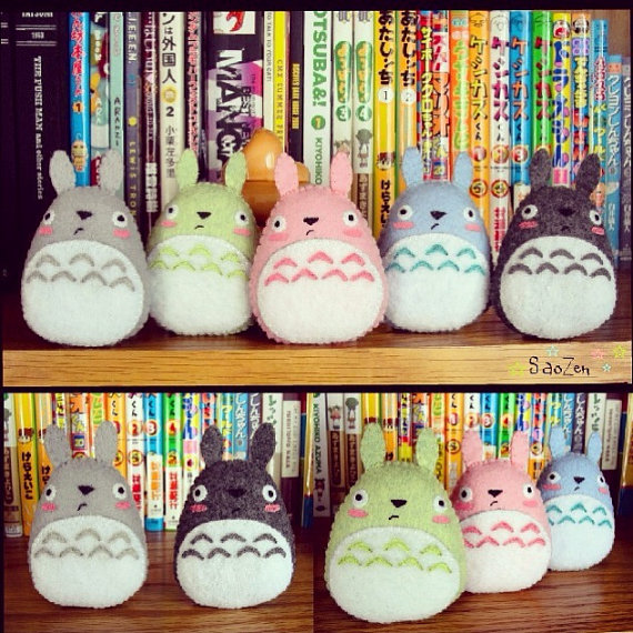 Egg-shaped and armless Totoro plushies by SaoZenPlush