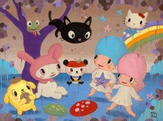Gary Baseman paints Sanrio