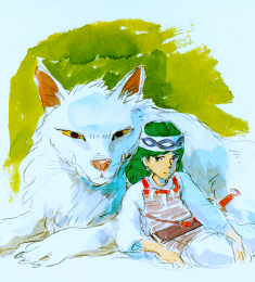 Early Concept Art for San and Moro from Princess Mononoke  もののけ姫