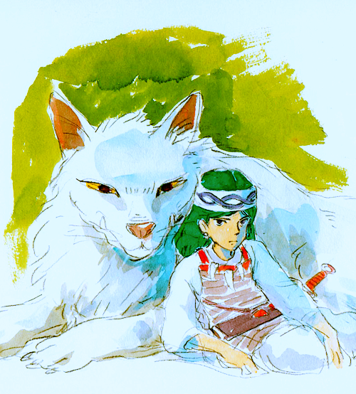 Early Concept Art for San and Moro from Princess Mononoke  もののけ姫