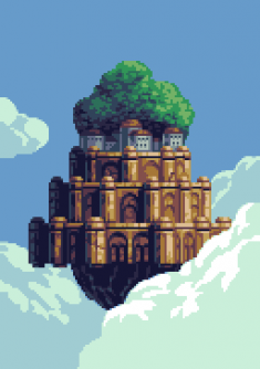 """Pixel Castle in the Sky""  by Goodlyay"
