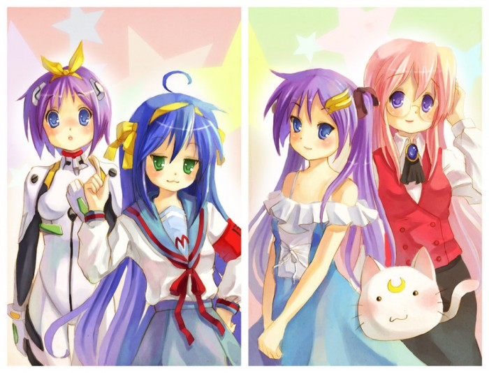 Lucky Star fan art by X-Chan -The cast of Lucky star in cosplay: Konata as Haruhi, Kagami as Lac ...