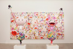 Sculptures and a painting by Takashi Murakami