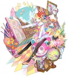お絵描き娘セカイ紀行 初出:日本マンガ芸術学院広報用イラスト