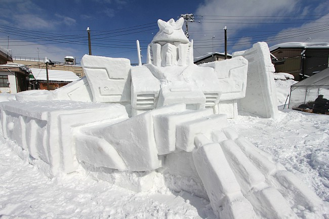 Snow Sculpture of a Gundam robot