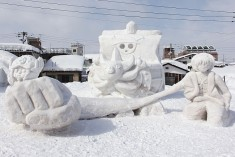 "Characters from the popular animation ""One Piece"" at the Tokamachi Snow Festival"