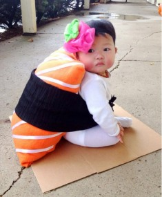 soooo kawaii! baby dressed in sushi cosplay