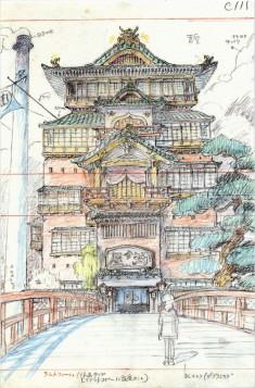 Bathhouse story board art of Hayao Miyazaki's Spirited Away ( 千と千尋の神隠し)