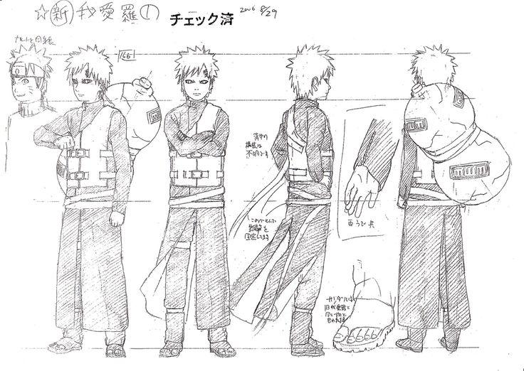 Naruto Character Design Sheet : Gaara character design sheet from naruto pin anime