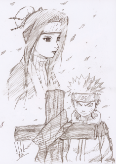 Naruto pencil sketch illustration