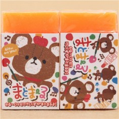 neon orange bear eraser by Q-Lia