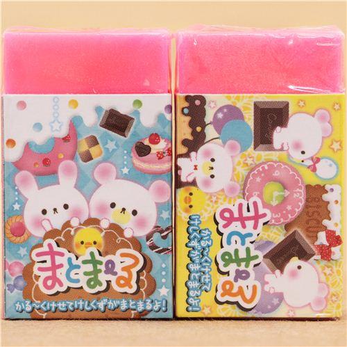 neon pink rabbit bear eraser by Q-Lia