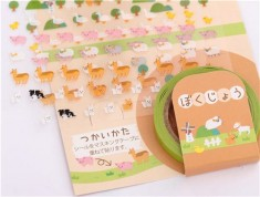Japanese stickers with alpaca, pig, cow, sheep etc. by Kamio