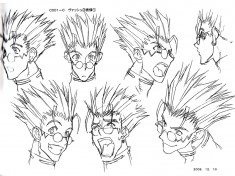 Vash character design sheet from Trigun トライガン