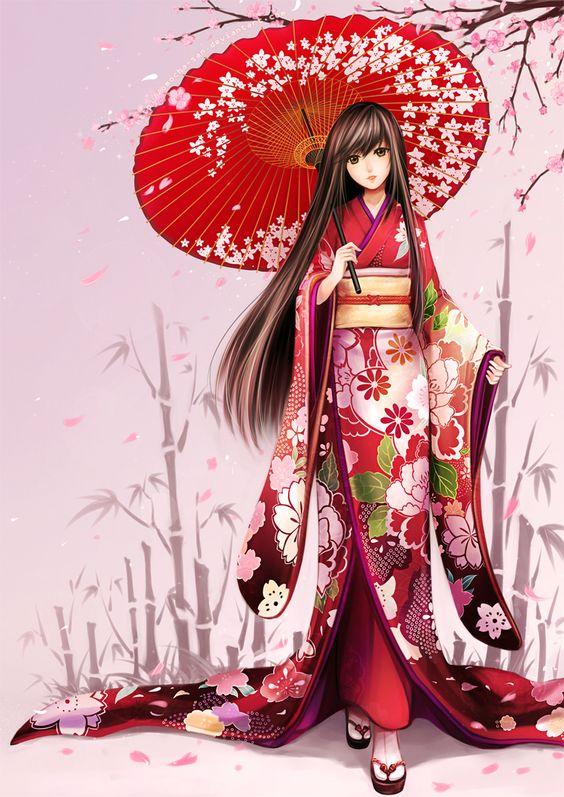 Anime girl in kimono