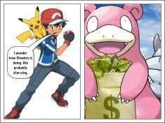 Ash thinks Slowbro is poor and hungry but he doesn't know the truth.