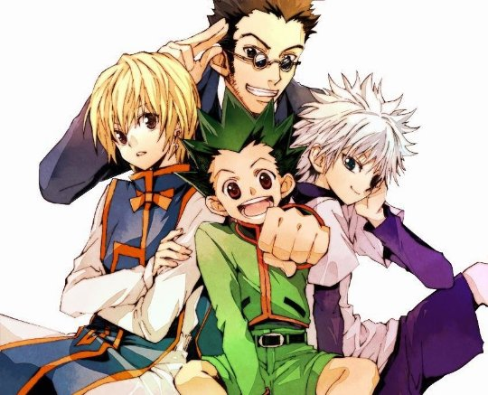 Gon, Kurapika, Leorio, Killua all huddled together
