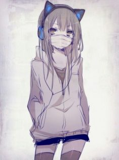 Anime girl, probably obsessed with neko and hiphop.. Listening to her daily playlist..