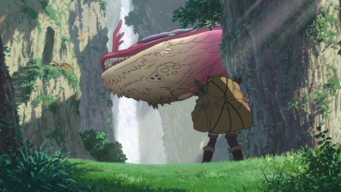 Riko vs flying monster in the abyss.