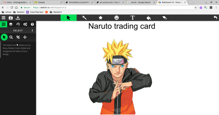 Naruto trading cards going to come out still working on it!  <