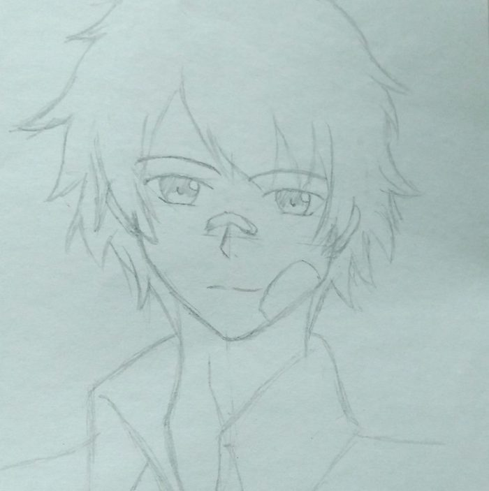 just random anime guy i draw back before the day hahahahhah this is my first trial to draw a guy