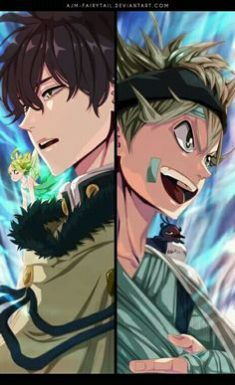 Credits to the amazing artist who drew this beautiful picture of Asta and Yuno from Black Clover ...
