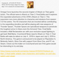 Omega Force's Final Battle– Attack on Titan 2 Expansion in game form and Season 3 of ...