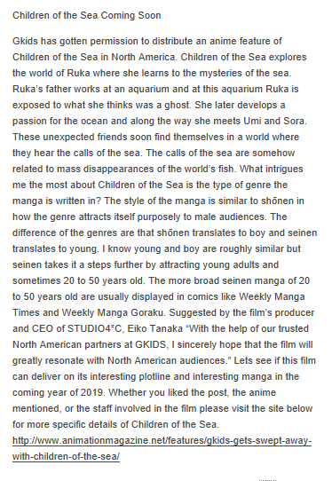 Children of the Sea Coming Soon  Gkids Has the Distribution Rights in North America for the anime