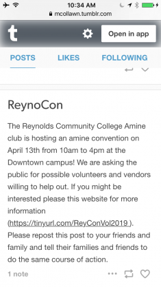 Anime Club at Reynolds Community College is Hosting a Anime Convention and it needs help