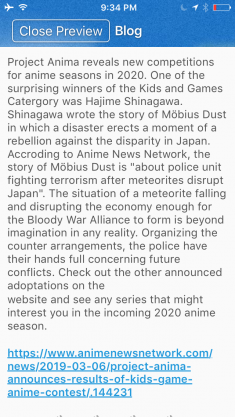 Möbius Dust Anime Proposal  Hajime Shinagawa Author
