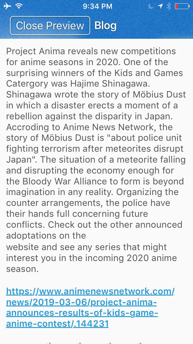 Möbius Dust Anime Proposal  Hajime Shinagawa Author