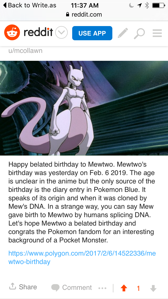 A post a from a previous site talking about Mewtwo's Birthday
