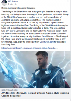 Rising Avengers Into Anime Sequence  Joey Paur and his post of Avengers: Endgame trailer of Anim ...