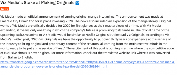 Viz Media's Stake at Making Originals  Inspired from the translated site of Everyeye anime ...