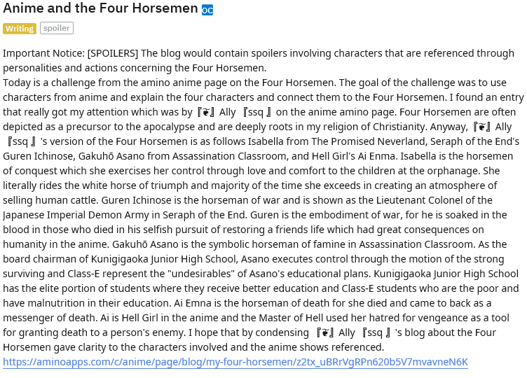 Anime and the Four Horsemen  『❦』Ally 『ssq 』and Four Horsemen Challenge on Amino Anime Page   ...