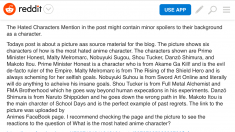 Characters and Public Reaction To Them  Animes Facebook page discussing hated characters in anim ...