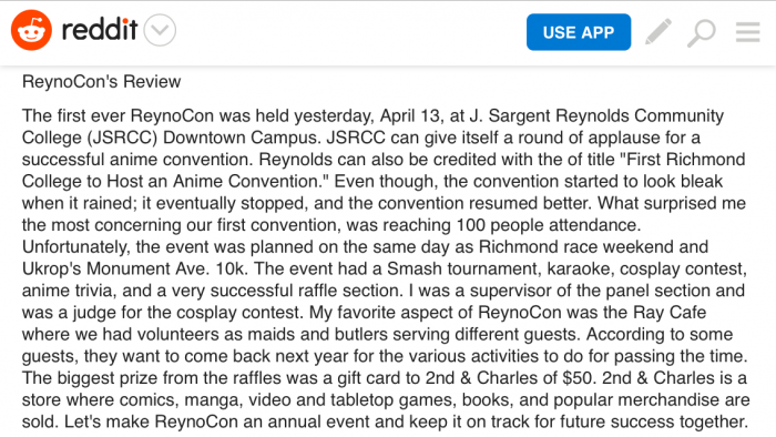ReynoCon's Review  ReynoCon was hosted Reynolds Anime Club and hope to make this an annual ...
