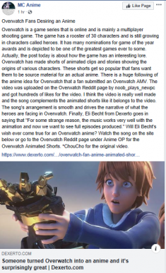 Dexerto Article about an Overwatch Animated Short Overlayed with Japanese Music