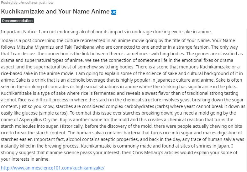 Kuchikamizake and Your Name Anime Chris Meharg Explains the Science of Sake in Anime