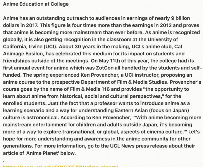 Anime Education At College  Lilibeth Garcia and New class on Japanese animation examines globali ...