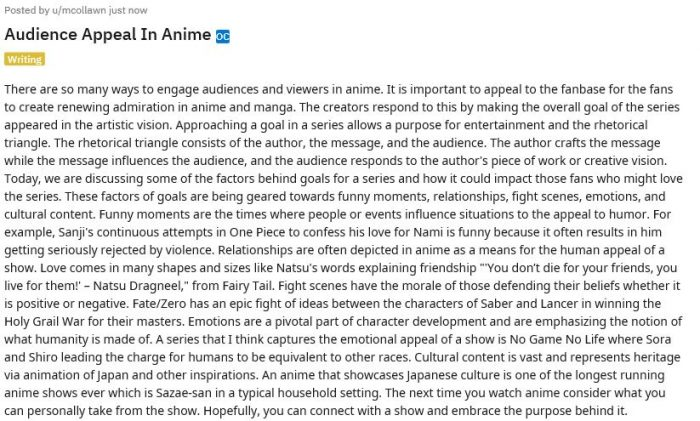 Audience Appeal In Anime  What makes anime interesting? Read and find out.