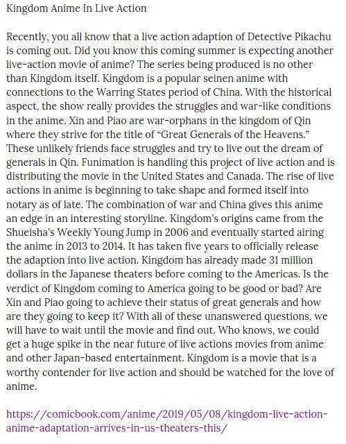 """Kingdom Anime In Live Action Evan Valentine and """"Kingdom"""" Live Action Anime Adaptati ..."""